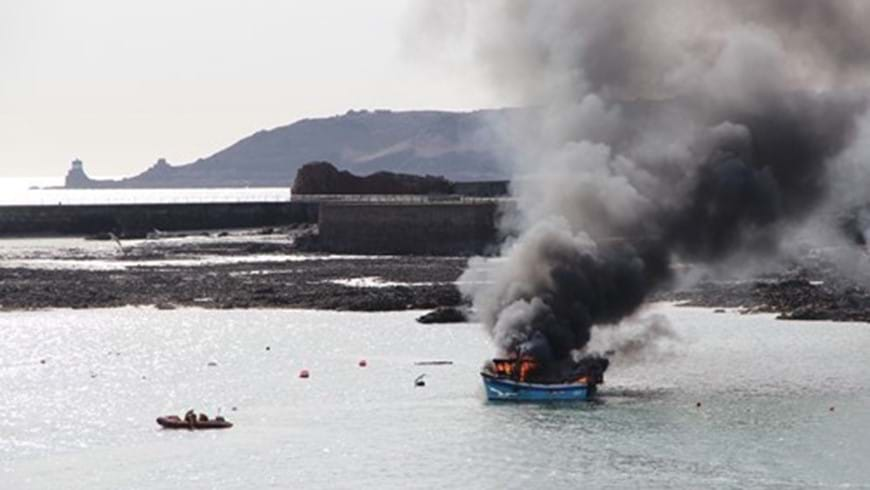 St Helier Lifeboat Launches To Fishing Boat On Fire2